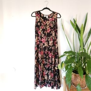 Vintage Betsy Lauren Black Floral Dress si…